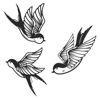 白い背景の上のツバメ鳥のセットです。ロゴ、ラベル、エンブレム、記号の要素。画像