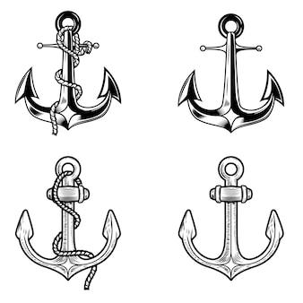 白い背景の上のアンカーのセットです。ロゴ、ラベル、エンブレム、記号の要素。画像