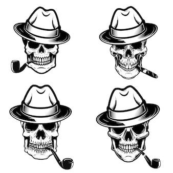 喫煙者の頭蓋骨のセットです。ロゴ、ラベル、エンブレム、看板、ポスターの要素。画像