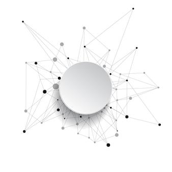 抽象的な背景。接続された線と点。