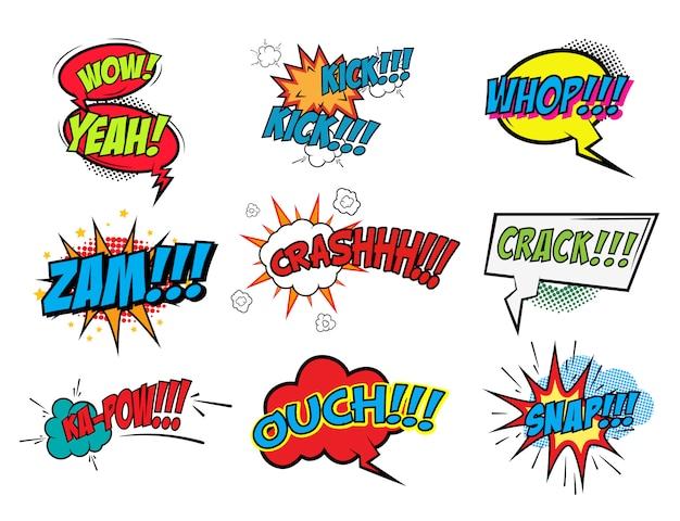 Набор фраз стиле комиксов на белом фоне. поп-арт стиль фразы установлены. вот это да! к сожалению! колотить! элемент для плаката, флаера. элемент дизайна.
