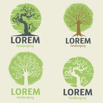Ландшафтные шаблоны логотипов. эко стиль жизни знак шаблон.