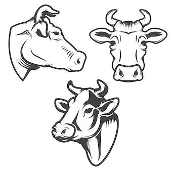 白い背景の上の雄牛の頭のエンブレム。ロゴ、ラベル、記号、ブランドマークの要素。