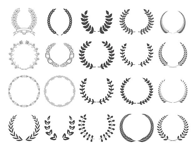 花輪のセットです。ロゴ、ラベル、エンブレム、記号、バッジの要素。ベクトルイラスト。