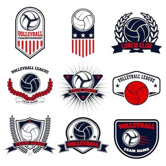 バレーボールのラベルとエンブレムのセット。ロゴ、ラベル、エンブレム、バッジ、記号の要素。図。