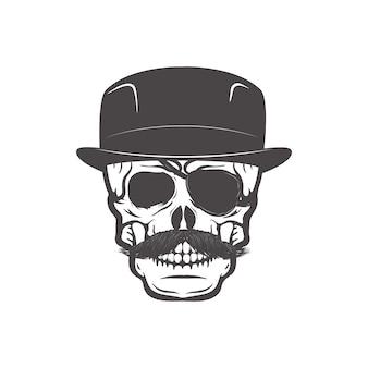 Череп в шляпке джентльмена. элемент дизайна для печати футболки.