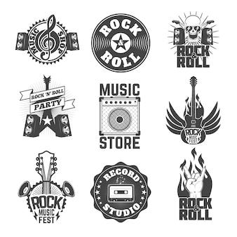 ロックミュージックラベルのセット