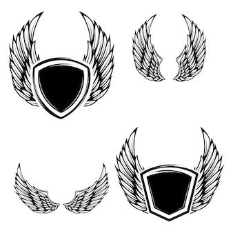 翼を持つエンブレムのセット。