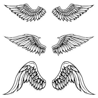 白い背景の上のヴィンテージの翼のセットです。