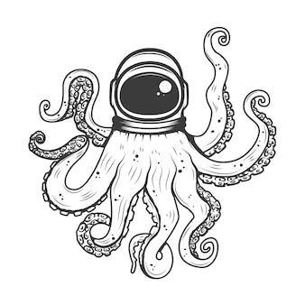 Астронавт шлем с осьминогом щупальцами. элемент для печати футболки, плакат. иллюстрации.