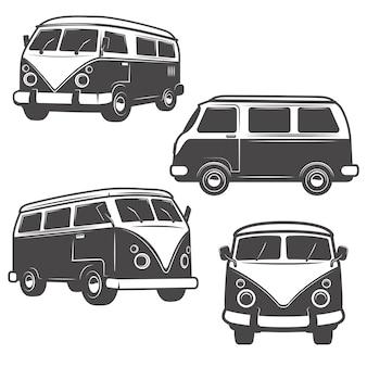 白い背景の上のレトロなヒッピーバスのセットです。ロゴ、ラベル、エンブレム、記号、ブランドマークの要素。
