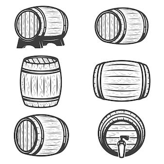 白い背景の上のビール樽のセットです。ロゴ、ラベル、エンブレム、記号、ブランドマークの要素。