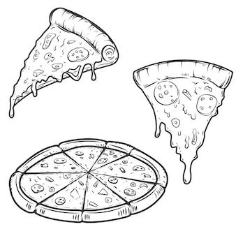白い背景の上のピザのイラスト。ロゴ、ラベル、エンブレム、記号、メニューの要素。図。