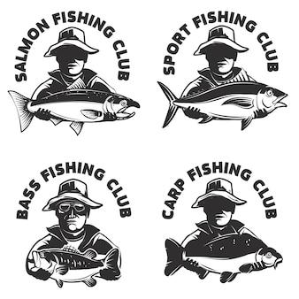 釣りクラブラベルテンプレートのセット。魚と漁師のシルエット。 、エンブレム、記号、ブランドマークの要素。図。