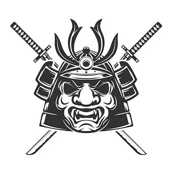 Самурай маска со скрещенными мечами на белом фоне. элементы для, этикетки, эмблемы, знака, торговой марки. иллюстрации.