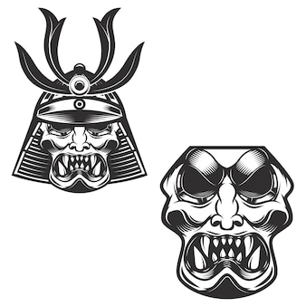 白い背景のサムライ戦士のヘルメット。 、ラベル、エンブレムの要素。図。