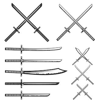 Набор самурайских мечей. элемент для, этикетка, эмблема, знак. иллюстрации.