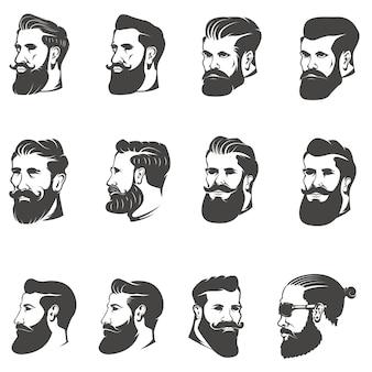白い背景の上のひげを生やした男の頭のセット。 、ラベル、エンブレムの画像。図。