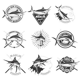 Марлин ловит рыбу. меч рыба иконки. глубоководная рыбалка. элементы дизайна для эмблемы, знака, марки.
