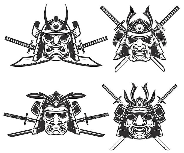 Набор маски самураев со скрещенными мечами на белом фоне. элементы для, этикетки, эмблемы, знака, торговой марки. иллюстрации.