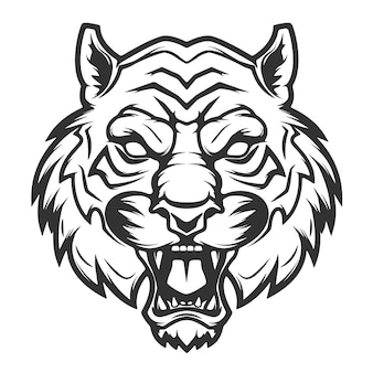 Иллюстрация головы тигра на белой предпосылке. изображения для, этикетки, эмблемы. иллюстрации.