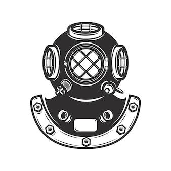白い背景の上のビンテージスタイルのダイバーヘルメット。エンブレム、バッジの要素。図。