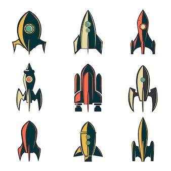 ロケットのアイコンのセットです。ロゴ、ラベル、エンブレム、記号、ブランドマークの要素。図。