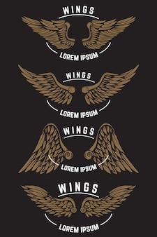 翼を持つヴィンテージエンブレムテンプレートのセット。ロゴ、ラベル、エンブレム、ポスターの要素。図