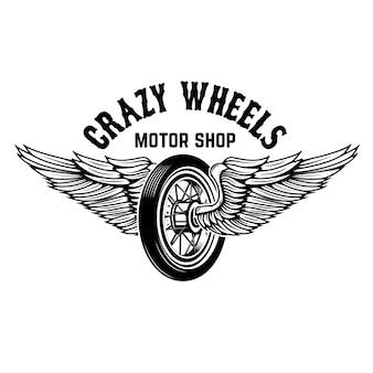 クレイジーホイール。白い背景の上の翼を持つオートバイのホイール。ロゴ、ラベル、エンブレム、記号の要素。図