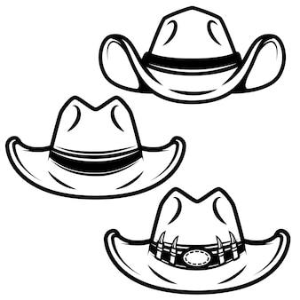 白い背景の上のカウボーイハットのセットです。ロゴ、ラベル、エンブレム、記号の要素。図