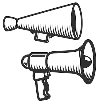 白い背景の上のメガホンアイコンのセットです。ロゴ、ラベル、エンブレム、記号の要素。図。