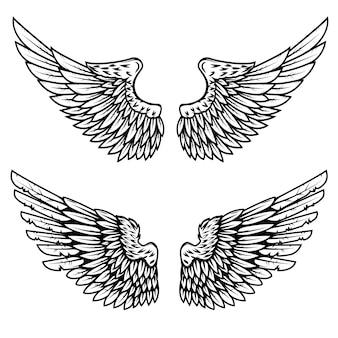 白い背景の上の鷲の翼のセットです。ロゴ、ラベル、エンブレム、記号の要素。図。