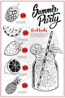 夏のカクテルメニューカバーレイアウト。ラズベリー、レモン、スイカ、イチゴ、パイナップルの手描きイラストメニュー黒板。