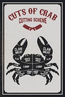 カニ肉のカットチェム。グランジ背景にカニのシルエット。ポスター、メニュー、チラシの要素。図