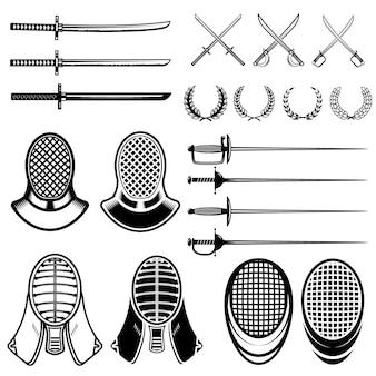 Набор элементов ограждения. фехтовальные мечи, маски, японская катана. иллюстрация
