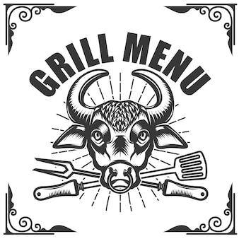 Гриль-меню. голова быка на белом фоне. иллюстрация