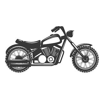 白い背景の上のバイク。ロゴ、ラベル、エンブレム、記号、バッジの要素。図