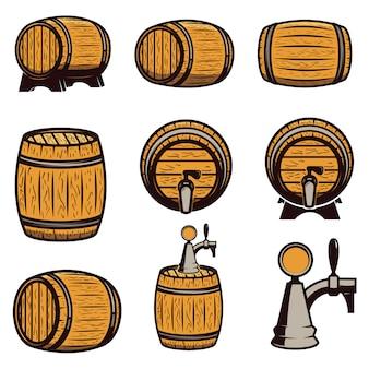 手描きの白い背景の上の木製の樽のセットです。ロゴ、ラベル、エンブレム、記号の要素。図