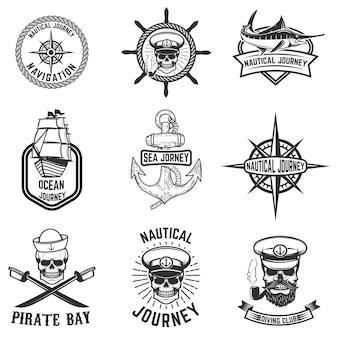 航海のエンブレムのセットです。ロゴ、ラベル、エンブレム、記号、バッジの要素。図
