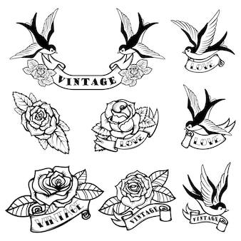 ツバメとバラのタトゥーテンプレートのセット。古い学校の入れ墨。図