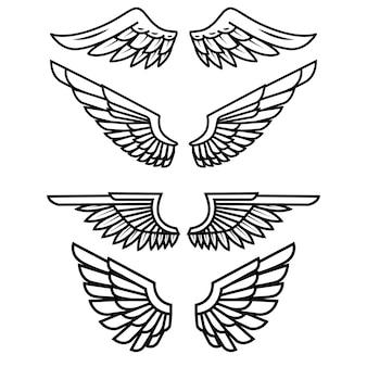 白い背景の上の翼のセットです。ロゴ、ラベル、エンブレム、記号、バッジの要素。図