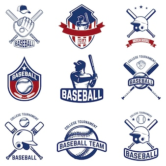 野球のエンブレムのセットです。野球大会。ロゴ、ラベル、エンブレム、記号の要素。図