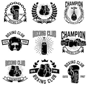 ボクシングクラブのエンブレムのセットです。ボクシンググローブ。ロゴ、ラベル、エンブレム、記号の要素。図