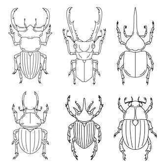 白い背景の上の昆虫のイラストのセットです。図