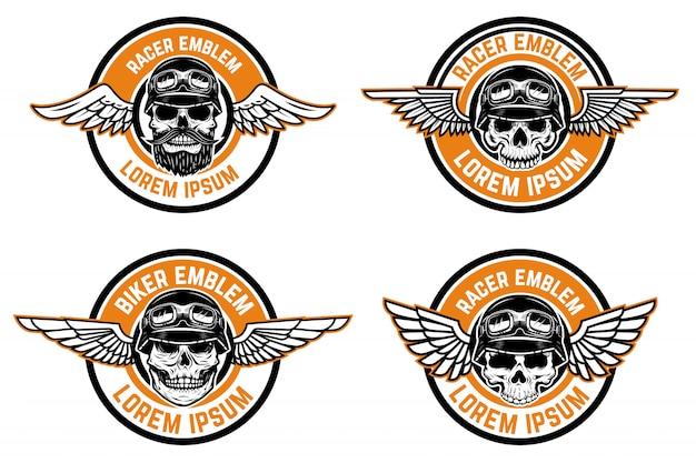 レーサーのエンブレム。頭蓋骨と翼のあるエンブレムのセット。バイカークラブ、レーサーコミュニティのロゴ、ラベル、記号の要素。図