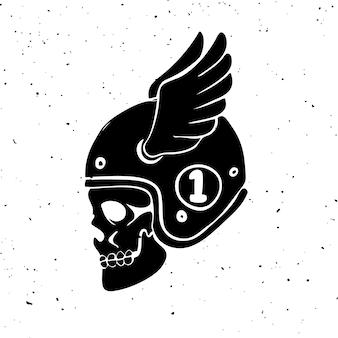 手描きの翼を持つライダーの頭蓋骨。ロゴ、ラベル、エンブレム、記号の要素。図
