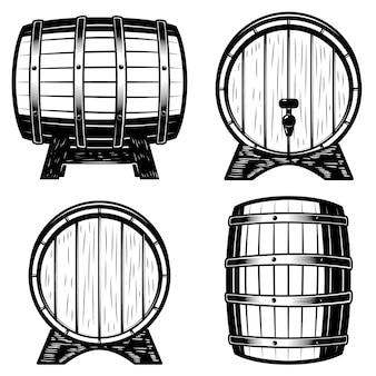 白い背景の上の木樽図のセットです。ロゴ、ラベル、エンブレム、記号の要素。図