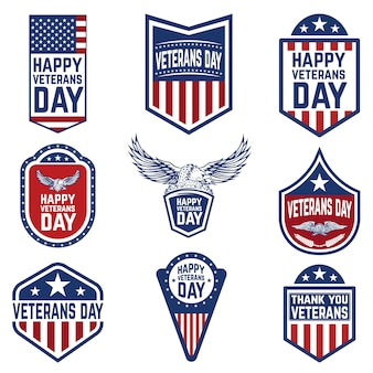 Набор ветеранов день эмблемы. культура сша. элементы для логотипа, этикетки, эмблемы, знака. иллюстрация