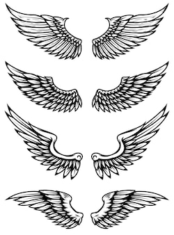 白い背景の上のヴィンテージの翼。ロゴ、ラベル、エンブレム、記号、ブランドマークの要素。図。