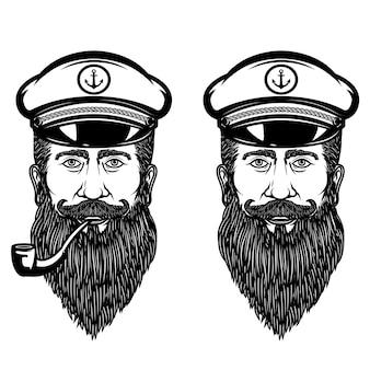 Иллюстрация морского капитана с курительной трубкой. элемент для плаката, эмблемы, знака, футболки. иллюстрация